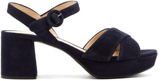 Prada Suede Platform Sandals - Womens - Navy