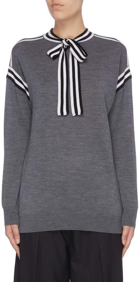 Victoria Victoria Beckham Victoria, Victoria Beckham Stripe sash tie neck Merino wool sweater