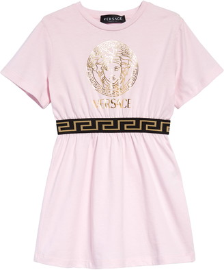 Versace Metallic Medusa Head Logo Cotton Dress