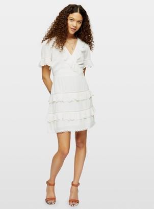 Miss Selfridge PETITE Ivory Broderie Ruffle Wrap Dress