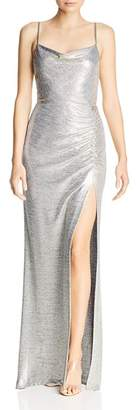 Avery G Metallic Knit Drape-Neck Gown