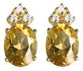 sendmyjewelry Citrine and White Topaz Sterling Silver/Vermeil Stud Earrings
