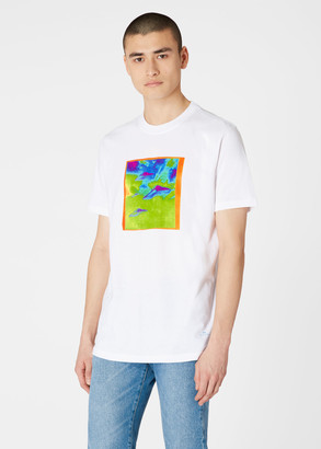 Paul Smith Men's White 'Fluro Spaceship' Print Organic Cotton T-Shirt