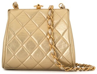 Chanel Pre Owned 1997 Diamond Quilted Metallic Shoulder Bag