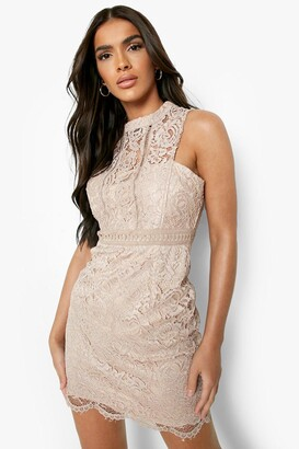 boohoo Boutique Lace Racer Neck Bodycon Dress