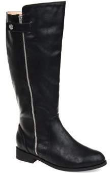 Brinley Co. Womens Comfort Wide Calf Side Zipper Riding Boot