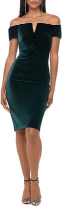 Xscape Evenings Off the Shoulder Velvet Dress