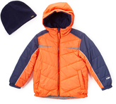 Hawke & Co Campfire & Navy Bubble Coat & Beanie - Toddler & Boys