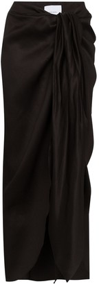 BONDI BORN Tie-Front Draped Midi Skirt
