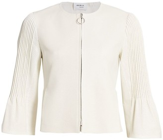 Akris Punto Bell Sleeve Perforated Leather Jacket