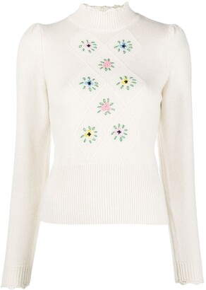 By Ti Mo Floral-Embroidered High-Neck Jumper