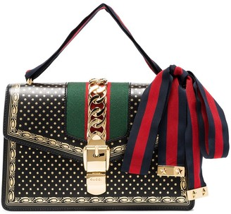 Gucci black Sylvie small stars print leather shoulder bag