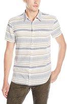 Lucky Brand Men's Short-Sleeved Verrigated Striped Button Down Shirt