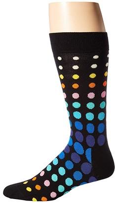 Happy Socks Faded Disco Dot Sock (Black Multi) Men's Crew Cut Socks Shoes