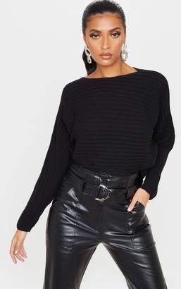 PrettyLittleThing Black Ribbed Knit Batwing Jumper