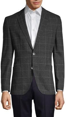 HUGO BOSS Janson Regular-Fit Windowpane Virgin-Wool Jacket