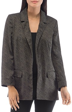 Bobeau B Collection by Leopard Print Relaxed Open Blazer