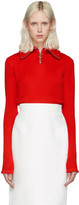 Shushu/Tong Red Knit Zip Turtleneck