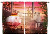 Ambesonne Teen Girls Kids Baby Room Decor Collection, Fantasy Fairy Tale Princess Carriage Fae Magical Starry Sky Art Print, Window Treatments for Kids Bedroom Curtain 2 Panels Set, 108X84 Inches