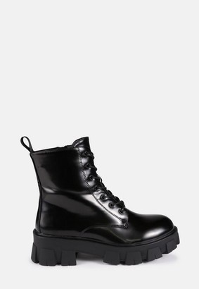 Missguided Black Chunky Lego Sole Lace Up Chelsea Boots