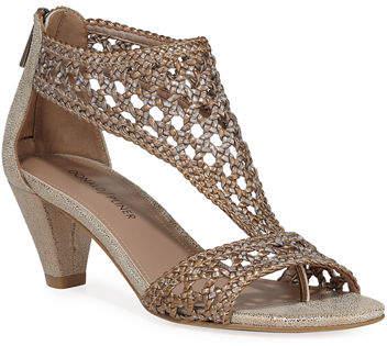 Donald J Pliner Verona Woven Metallic Mid-Heel Sandals