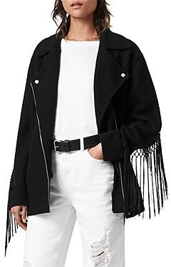 AllSaints Robyn Macrame Trim Moto Jacket