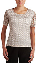 Allison Daley Two-Tone Bubble Crochet Knit Top