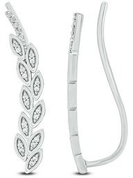 Cali Trove 1/10ct TDW Diamond Ear Climbing Crawler Earring In Sterling Silver