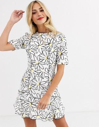 Talulah splice large daisy print mini dress