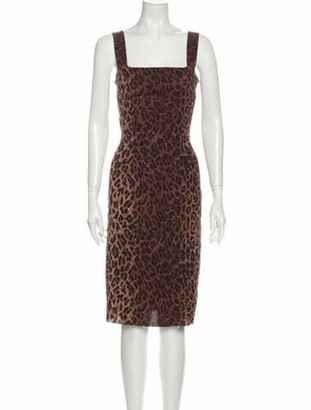 Dolce & Gabbana Silk Knee-Length Dress Brown
