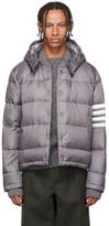 Thom Browne Grey Down 4-Bar Bomber Jacket