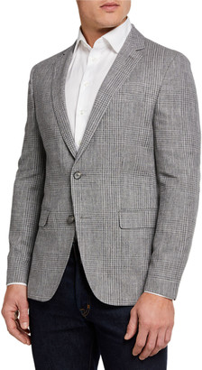 BOSS Men's Shadow Plaid Two-Button Jacket w/ Elbow Patches