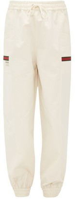 Gucci Web-striped Cotton-canvas Track Pants - Womens - Ivory Multi