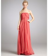 Carmen Marc Valvo coral silk grecian pleat strapless gown