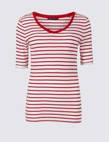 Marks and Spencer Pure Cotton Striped Half Sleeve T-Shirt