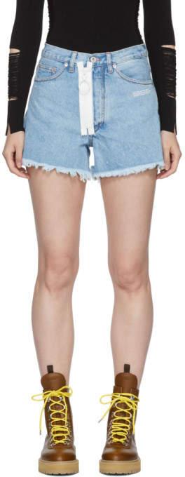 Off-White Blue EMB Denim Shorts