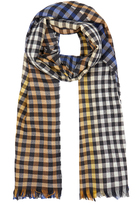 Johnstons of Elgin Blue and Yellow Gingham Merino Wool Scarf