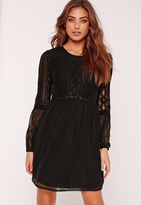 Missguided Lace Insert Skater Dress Black