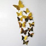 Yoyorule 12pcs Wall Stickers Decal Butterflies 3D Mirror Wall Art Home Decors (Gold)