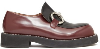 Marni Ring-buckle Leather Loafers - Womens - Black Burgundy