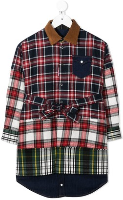 DSQUARED2 Plaid Patchwork Shirt Dress