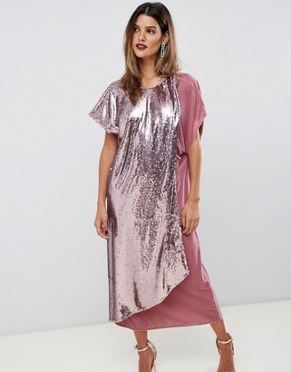 Asos Design DESIGN velvet and sequin mix asymmetric drape midi dress-Pink