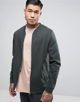 Asos Jersey Bomber Jacket In Green