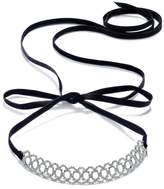 INC International Concepts Silver-Tone Crystal Pavandeacute; Scalloped Black Ribbon Choker Necklace, Created for Macy's
