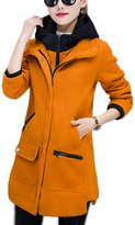 Lettre d'amour Women's Casual Fur Wool Outerwear Coat With Pockets L