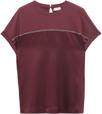 Brunello Cucinelli Jersey-paneled Bead-embellished Stretch Silk-satin T-shirt