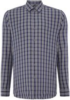 Peter Werth Men's Royal Grid Check Slim Fit Long Sleeve Button Down
