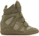 Isabel Marant Taupe Suede Bekett Wedge Sneakers