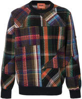 Missoni patchwork plaid crew neck sweater