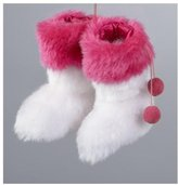 """Kurt Adler 4"""" Fashion Avenue White and Pink Furry Rave Boots Christmas Ornament"""